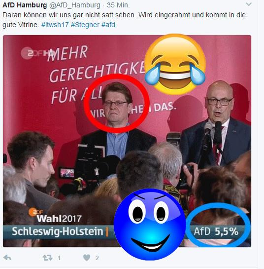 Bild zum Thema SPD und Stegner downunder  Vollbremsung für den Schulz-Zug. Die Sozialisten sind mit SPD und Linken ausgebremst worden.  Ansonsten hat es die AfD trotz massivster Gewalt gegen den Wahlkampf der Partei  immerhin noch in den Landtag geschafft.  Dass die Küstenbewohner ansonsten irgendwie seltsam ticken, sieht man allerdings am politischen Strandgut Grüne und FDP.  :v  #ltwsh17  #spd  #stegner #afd #antidemokraten