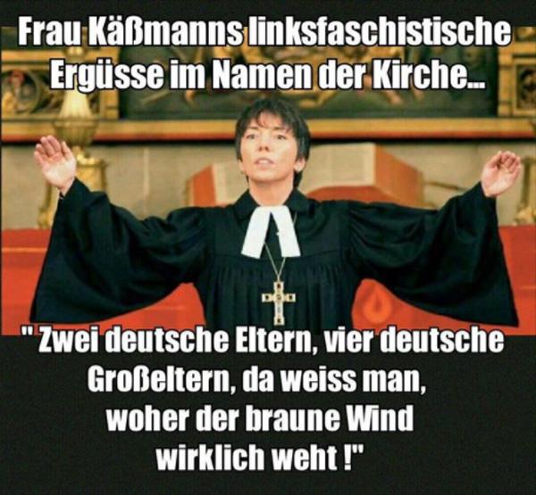 Bild zum Thema Zu wenig Jesus, zu viel Politik - Käßmann auf Abwegen  Erneut hat Margot Käßmann auf dem evangelischen Kirchentag mit linksideologischen Kampfreden die AfD in die Naziecke gestellt.  Sie beleidigt damit auch Millionen Deutscher, die tatsächlich deutsche Eltern und Großeltern haben, was offensichtlich hierzulande in der linksfaschistischen Ideologiewelt als Rassenschande gilt und dringend geändert werden muss.  1,8 Promille - da weiß man, woher die Fahne weht. :V  #evangelischer_kirchentag  #käßmann #kirchentag  #wenig_jesus_viel_politik  #afd  #linksfaschistische_ideologie  #rassenideologie  ?#Alternative_für_Deutschland?#AfD_wählen? #Unbequem_Echt_Mutig_AfD™? #Mut_zur_Wahrheit_AfD™?    ? Neudeutsche Hoffnungsträger: https://goo.gl/tvnBen  ? Fit4Return: https://goo.gl/ZKPxvM  ??  AfD-Bundestags-Wahlprogramm: https://goo.gl/lT4U3x ??