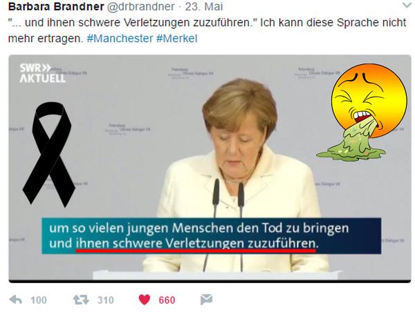 Bild zum Thema Gequirlte Merkel-Kacke  Man kann diese Kanzlerdarstellerin nicht mehr hören und sehen.  Die Person Merkel ist sogar inzwischen so unfähig, dass sie inzwischen nicht einmal mehr ihrer geheuchelten Einzelfall-Trauerreden halten oder ablesen kann.  ... und ihnen [den meist jugendlichen Opfern von Manchester] schwere Verletzungen zuzuführen. Das beinhaltet soviel persönliche Anteilnahme, als wenn in China ein Sack Reis umfiele.   Es ist nicht nachvollziehbar, wie eine derartig kognitiv, rhetorisch, politisch und emotional stumpfsinnige Person ein Land wie Deutschland regieren kann.   Die Kanzlerdarstellerin sieht sich dabei völlig abseits von Terror und dem Kontrollverlust des Staates. Nein, sie hat damit nichts zu tun. Sie will mit ihrer Flüchtlingspolitik nur den Friedensnobelpreis.   Und wer bezahlt die Rechnung? Deutschland und wir. :v  #manchester  #manchester_attacks  #merkel  #opfer  #terror   #Merkel_Muss_Weg?  #abmerkeln?  #One_World_Scheinheilige  #Scheindemokratie??  #Bananenrepublik? #Leitkultur?  #Multikulti?   #linksschwarzgrüne_realitätsverweigerer   #Merkel_Bunt_Schland? #Asyl_Wahnsinn? #Systemlinge?  #last_night_in_sweden ?#Alternative_für_Deutschland?#AfD_wählen? #Unbequem_Echt_Mutig_AfD™? #Mut_zur_Wahrheit_AfD™?    ??  AfD-Bundestags-Wahlprogramm: https://goo.gl/lT4U3x