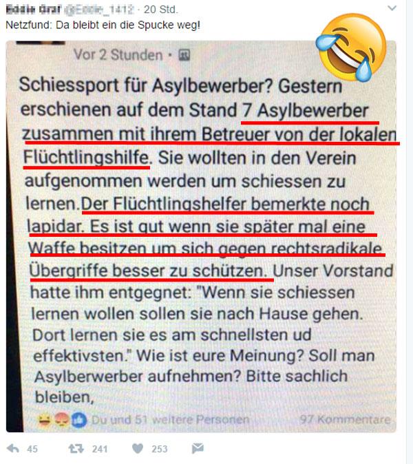 Bild zum Thema Gutmenschen am Rande des Wahnsinns  Schleppt der linksgründrehende Refugee-Pseudo-Integrierer seine traumatisierten Schützlinge zum Schützenverein und will, dass man ihnen das Schießen beibringt.  Himmel und Hölle, diese Gesellschaft ist grande verpisst. :v  #asylanten  #schützenverein  #schießen_lernen  #traumatisierte  #schusswaffen_gegen_rechts  #Merkel_Muss_Weg?  #abmerkeln?  #One_World_Scheinheilige  #Scheindemokratie??  #Bananenrepublik? #Leitkultur?  #Multikulti?   #linksschwarzgrüne_realitätsverweigerer   #Merkel_Bunt_Schland? #Asyl_Wahnsinn? #Systemlinge?  #last_night_in_sweden ?#Alternative_für_Deutschland?#AfD_wählen? #Unbequem_Echt_Mutig_AfD™? #Mut_zur_Wahrheit_AfD™?    ??  AfD-Bundestags-Wahlprogramm: https://goo.gl/lT4U3x