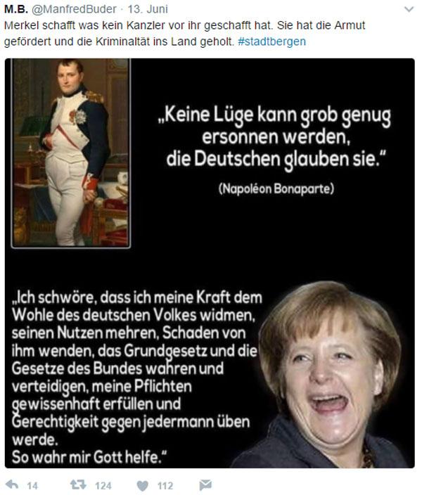 Merkel-Schland - 'Ich schwöre ...'   Die Kanzlerdarstellerin kurz und knapp auf den Punkt gebracht.   Wenn du nach der Wahl fragst, wer die späte Rache der DDR gewählt hat, will es wieder keiner gewesen sein. :v  #Date:#