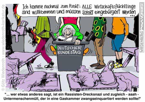 Cartoon Flutlinge ficken Rednerin der Grünen im Bundestag #Date:12.2015#