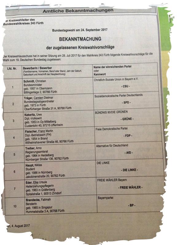 Bild zum Thema Bundestagswahl 2017: Direktkandidaten für den Wahlkreis 243  Der Kreiswahlleiter hat die Direktkandidaten für den Bundestagswahlkreis 243 (Fürth, LK Fürth, LK Neustadt/A.-Bad Windsheim) offiziell bekannt gemacht.  Ohne hier auf die einzelnen Parteien und Kandidaten eingehen zu wollen, muss doch einer herausgestellt werden.  Christian Schmidt, CSU, ist derjenige von allen Kandidaten, der bereits bestens bewiesen hat, dass er es NICHT kann.  Abgesehen davon, dass er die Schwanz-Einzieher-Merkel-an-die-Macht-bringende Partei CSU vertritt.  Schmidt ist Bundeslandwirtschaftsminister. Seit Jahren schaut er dem unglaublichen Treiben der Agrarindustrie zu. Immer zu einer dummen und unpassenden Bemerkung aufgelegt versagt der Typ, wenn es um Verbraucherschutz [1] und Tierschutz [2] geht, auf der ganzen Linie und versteckt sich feige hinter EU-Vorschriften. Ein Spruchbeutel und Aussitzer, wie sein großes Vorbild IM-Erika Merkel.  Ohne vorzeigbare Verbesserungen trägt er schlimmste Tierquälerei in der Massentierhaltung mit und sieht zu, wie unzählige Schlachttiere täglich geschächtet, also aus rituell-religiös-ideologischen Gründen ohne Betäubung geschlachtet werden.   Wählen Sie was und wen Sie wollen, aber nicht den Anti-Tierschutzminister Christian Schmidt. Und: wer Schmidt wählt, wählt Merkel und die Umfaller von der CSU. :v  [1] Fipronil-Skandal https://www.welt.de/wirtschaft/article167430333/Die-Akte-Fipronil.html  [2] z.B. Die Eierlüge http://www.ardmediathek.de/tv/Reportage-Dokumentation/Exclusiv-im-Ersten-Die-Eierl%C3%BCge/Das-Erste/Video?bcastId=799280&documentId=44876736  #btw17  #fipronil  #direktkandidaten  #wahlkreis_243  #wahlkreis_fürth  #christian_schmidt  #csu  #bundeslandwirtschaftsminister  #anti_tierschutz_mininster  #massentierhaltung  #verbraucherschutz  #schächten  #eierskandal  #schweinehochhaus #agrarindustrie  #spruchbeutel  #aussitzer