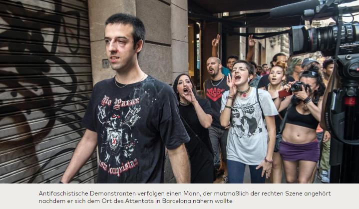 Spanische Antifa verhindert in Barcelona Protest gegen Islamismus   Nach dem Anschlag in Barcelona mit mindestens 13 Toten hat die spanische Antifa Proteste gegen den zugrundeliegenden Islamismus verhindert.   Mehrere hundert Antifanten griffen etwa 20 Demonstranten körperlich an. Die Polizei musste eingreifen.   Bitte beachten Sie bei Kenntnisnahme des Artikels der WELT:   -> Das Auftreten von 20 Personen wird als AUFMARSCH bezeichnet   -> Die Anti-Islam-Demonstranten wurden nicht von Passanten, sondern von organisierten Linksfaschisten angegriffen   -> Der Angriff der Linksfaschisten wird von der WELT mit dem Zitieren von Parolen moralisch überhöht, die angeblich im Spanischen Bürgerkrieg bereits gegen Franco verwendet wurden. Somit wird dem Leser suggeriert, dass es sich bei den Anti-Islam-Demonstranten um Nazis gehandelt hat.   Verkehrte Welt. :v   Siehe hierzu auch die WELT:  https://www.welt.de/politik/ausland/article167816731/Aufgebrachte-Menge-verhindert-Aufmarsch-der-Identitaeren-am-Anschlagsort.html   #barcelona #BarcelonaAttacks #islamisten #islam #antifa #linksfaschisten #demokratie #antifa #Date:08.2017#