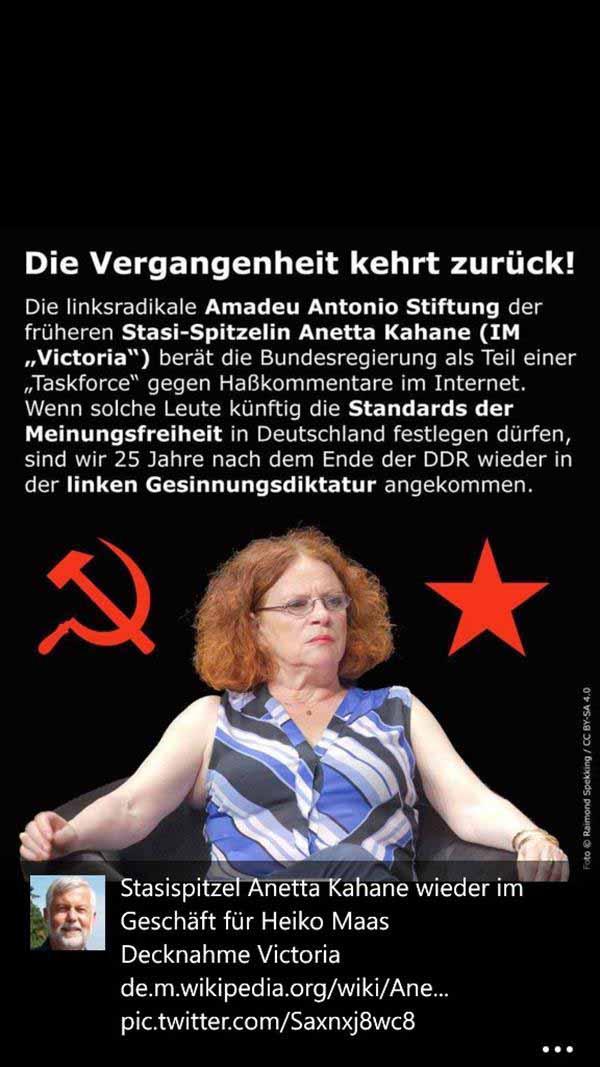 Kahane, ehemalige IM VICTORIA, für Heiko Maas in der Internetzensur tätig #Date:01.2016#
