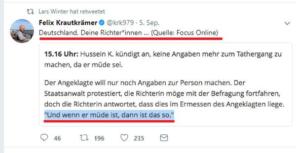 Verständnisvolle Richterin im Freiburger Mordprozess gegen Afghanen  In Freiburg wird zurzeit gegen den afghanischen Asylanten Hussein K. verhandelt.   Tatvorwurf: Mord in Tateinheit mit besonders schwerer Vergewaltigung  Opfer: Studentin Maria L. (19)  #freiburg  #afghane  #asylant  #asylchaos  #mord  #flüchtling  #vergewaltigung  #maria_l  #richterin_freiburg  #justiz   #Date:09.2017#