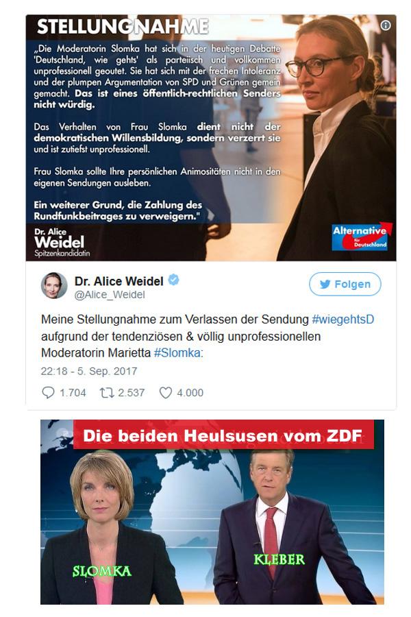 """Warum Alice Weidel dem ZDF und Slomka den Laufpass gab   Stellungnahme von Alice Weidel, warum sie in der von Slomka moderierten ZDF-Sendung """"Wie geht""""s Deutschland"""" die Lügenrunde unter sich ließ.  Dreist auch, wie das ZDF die Statistik des BKA zur Flüchtlingskriminalität verfälschte.   Wem dient ene derartige Realitätsklitterung? Was soll das? :v  #weidel #afd  #zdf  #wiegehtsD  #flüchtlingskriminalität  #statistik  #bka  #slomka  #gez_funk  #staatssender #Date:09.2017#"""