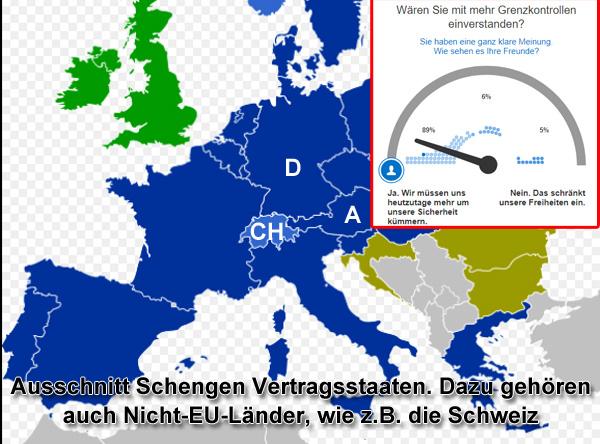 2100 Illegale 165 Schleuser  1150 Haftbefehle | Wir brauchen nicht mehr Polizei, sondern viel weniger Schengen  Das Abkommen von Schengen legt für den Schengenraum eine sogenannte Außengrenze fest. Dafür entfallen die Kontrollen an Binnengrenzen zwischen den Staaten innerhalb des Schengenraums. [1]  Dem Vertrag sind auch Nicht-EU-Staaten, wie z.B. die Schweiz beigetreten.  Schengen ist zwar lustig und schön für Urlauber, Reisende und Spediteure.  Für den Rest unserer Gesellschaft ist Schengen pures Gift, das Deutschland zu freier Wildbahn für alles macht, was das Licht scheut.  Wir bezahlen dieses EU-Verdienst mit staatlichem Kontrollverlust, erodierender Innerer Sicherheit und riesigen Kosten und Schäden. Wie die Sicherung der EU-Außengrenze aussieht, zeigt dieses Video. [2]  Die sogenannte Schleierfahndung, die zum Ausgleich des Kontrollverlustes an den Grenzen geschaffen wurde, kann nicht einmal ansatzweise einen Ausgleich hierzu schaffen. Wobei nicht einmal alle Bundesländer eine Schleierfahndung kennen und auch keine einheitlichen Rechtsgrundlagen hierzu bestehen. [3]  Was dieses Schengen-Abkommen zugunsten von Urlaubern und Spediteuren uns beschert, zeigt die Fluchtroute des Islam-Terroristen Anis Amri nach dem Anschlag auf den Berliner Weihnachtsmarkt Breitscheidplatz mit 12 Toten und 70 Verletzten. [4]  Amri war nach dem Anschlag auf der Flucht in den Niederlanden, in Belgien, in Frankreich und in Italien, wo er dann zufällig gestellt und erschossen wurde. [5]  In Deutschland wird nur die Grenze zu Österreich mit drei stationären Kontrollstationen überwacht.  Allein 2017 wurden dort bis August die Zahl von 2100 Illegalen, 165 Schleusern und 1150 mit Haftbefehl gesuchten Personen aus dem Verkehr gezogen. [6]  Wer sich da als Politiker blöd hinstellt und über die Innere Sicherheit schwadroniert, unsere Steuergelder für mehr Polizei hinauswirft und unsere Freiheit durch Überwachungsmaßnahmen massiv einschränkt, der verarscht den Bürger, weil er genau weiß, waru