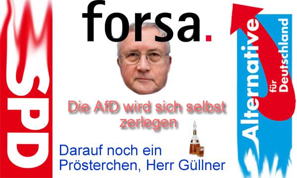 """FORSA-Chef Güllner SPD: die AfD wird sich selbst zerlegen  Kennen Sie das: sie fühlen sich echt scheisse d`rauf und gönnen sich etwas, indem sie ein Stückchen Schokolade essen?  Na sehen Sie. Und Güllner, selbst SPD-Mitglied, tut dasselbe, wenn er angesichts der miesen Werte seiner """"Deutschland-zuletzt""""-Partei SPD sich was gönnt und eine für ihn geile Polit-Phantasie träumt.  Das Meinungsforschungsinstitut FORSA ist ein Mini-Unternehmen in der Branche mit 60 Angestellten (Vergleich GfK mit 1600 Angestellten).  FORSA ist mehr als umstritten. Allgemein tauchen bei dem Institut immer mehr der SPD zustimmende Meinungen auf, als bei allen anderen Instituten. Auch die Umfragemethoden von FORSA sind mehrfach als Manipulation entlarvt worden.  Also, Herr Güllner. Träumen Sie weiter und trinken Sie mit Ihrem Kumpel Pöbel-Ralle Ralf Stegner SPD noch das eine oder andere Tröpfchen, bevor die Afd die SPD als Volkspartei ablöst.  In diesem Sinne: Prösterchen, Herr Güllner und SPD. :v  Siehe hierzu auch:  http://www.nordbayern.de/politik/forsa-chef-nach-der-wahl-zerlegt-sich-die-afd-selbst-1.6663485  https://de.wikipedia.org/wiki/Forsa  #güllner  #forsa  #spd  #meinungsforschung  #umfragemethoden  #stegner  #politphantasien #Date:09.2017#"""