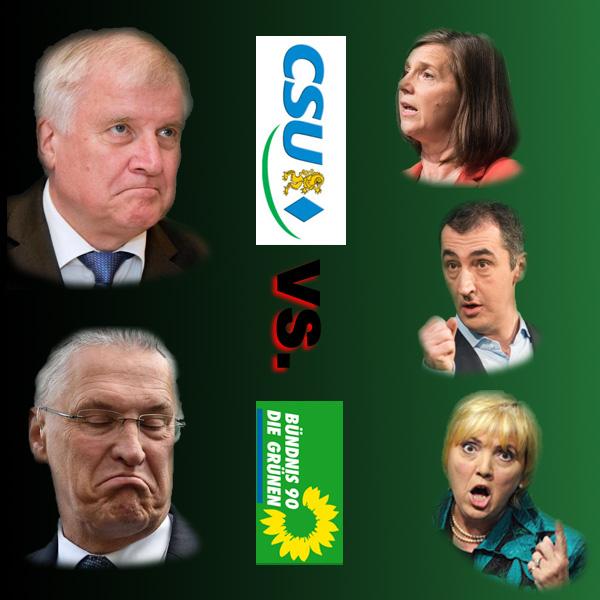 """Das wird ein Spass - CSU und Grüne bei den Koalitionsverhandlungen  Eigentlich kann das nur ein supergeiles Happening werden, wenn die Drehhofer-CSU und die Unfugs-Partei Grüne aufeinander treffen, um einen Plan für Jamaika zu Ehren der Kanzlerdarstellerin Merkel CDU zu schmieden.  Gemessen an den skurril-grotesken Wahnvorstellungen von Verkehr über Diesel bis Flüchtlinge und Europa der grünen Gurkentruppe, müssten die CSU-Verhandler eigentlich schon vor Beginn der Gespräche hohe Dosen krampflösender Medikamente einnehmen, um überhaupt anwesend sein zu können.  Die beiden grünen Gurus Katrin Göring-Eckhardt (Sachverständige für geschenkte Menschen und von Nazis zerstörter Dresdner Frauenkirche) und Cem Özdemir  (Oberdeutscher mit alternativlosem Alleinvertretungsanspruch) sind schon für einfache Nicht-Ideologisierte kaum zu ertragen. Wenn man dann auch noch das grüne Milieu mit Claudia Roth (Mitmarschiererin bei """"Deutschland, du mieses Stück Scheisse""""-Demo) oder Volker Beck (Drogen-Ausgerutschter und Propagandist für islamische (Un-)Sitten) in Betracht zieht, dann kann man sich ungefähr vorstellen, warum Koalitionsvereinbarungen mit den Grünen für konservative Kreise zur Quadratur des Kreises werden.  Allerdings: in Baden-Württemberg regiert eine schwarz-grüne Koalition. Gut, vielleicht gibt es auf Landesebene nicht so viele Konfliktpunkte wie auf Bundesebene. Dennoch sieht man: die Macht zuerst, die Ehre zuletzt. :v  Siehe hierzu auch: https://jungefreiheit.de/debatte/kommentar/2017/die-neuen-freunde-der-csu/  #jamaika  #grüne  #csu  #koalition  #bundesregierung  #drehhofer  #gurkentruppe  #cdu #Date:09.2017#"""