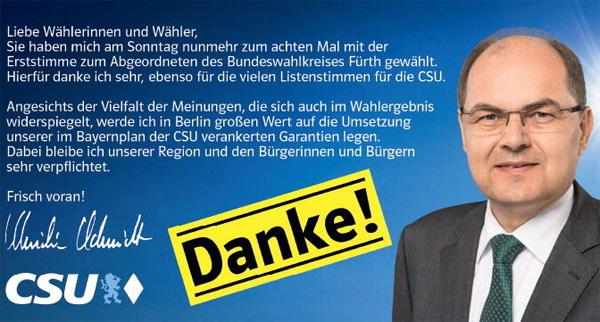 Bild zum Thema Christian Schmidt CSU zum achten Mal im Bundestag  Zum achten Mal zieht Christian Schmidt als Direkkandidat der CSU im Wahlkreis 243 (FÜ, LK FÜ, LK NEA-BW) in den Bundestag ein.  Das Grundsatzprogramm sieht die Tendenz zum Berufspolitiker äußerst kritisch, weil dies nicht der AfD-Vorstellung vom Bürgerabgeordneten entspricht.  Die AfD setzt sich daher für eine Amtszeitbegrenzung der Bundestagsabgeordneten ein. Ausgenommen hierfür sind gewählte Direktkkandidaten.  +++ Grundsatzprogramm 1.5.4  Wider das Berufspolitikertum: Amtszeit begrenzen  Die sich fortsetzende Tendenz zum Berufspolitikertum hat der Monopolisierung der Macht Vorschub geleistet und die unübersehbare Kluft zwischen dem Volk und der sich herausgebildeten politischen Klasse vergrößert. Vetternwirtschaft, Filz, korruptionsfördernde Strukturen und verwer?icher Lobbyismus sind die Folge.  Die Amtszeitbegrenzung von Mandatsträgern kann dieser gesellschaftsschädigenden Entwicklung entgegenwirken und das Machtmonopol der Parteien beschneiden. So können wir unser Ideal des Bürgerabgeordneten wiederherstellen.  Konkret fordern wir eine Amtszeitbegrenzung für Abgeordnete auf höchstens vier Legislaturperioden. Diese Regelung gilt nicht für direkt gewählte Abgeordnete. +++  Na denn, Herr Schmidt: Frisch(?) voran! :v  #bundestag  #csu  #schmidt  #amtszeitbegrenzung #bürgerabgeordneter #vetternwirtschaft  #filz  #lobbyismus  #berufspolitiker