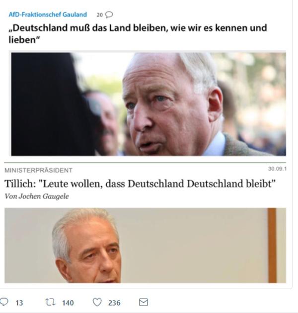 """CDU traut sich auch was zu sagen, wenn die AfD dafür den Kopf hingehalten hat  Stanislaw Tillich, Ministerpräsident von Sachsen, CDU, hat die Zeichen der Zeit und die Stimmung in der Mehrheitsgesellschaft erschnuppert. Gegen die linken Schreihälse und ihre dumpf-ideologische """"Deutschland-zuletzt""""-Weltrettungsmission traut sich der Herr Landesvater Wahrheiten auszusprechen, für die der Eisbrecher AfD vorher den Meinungskanal frei gemacht hat.  Naja, besser als nichts. :v  #tillich  #sachsen  #cdu  #afd  #deutschland #Date:10.2017#"""