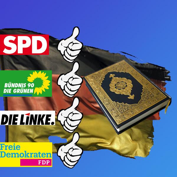 Islam-Front marschiert im Bundestag gegen AfD  Die anstehende Wahl der Bundestagsvizepräsidenten zeigt den Bürgern klar auf, welche Parteien uneingeschränkte Sympathisanten des Islam sind.  SPD, Grüne, Linke und FDP bekämpfen die Kandidatur von AfD-Vorschlag Albrecht Glaser, weil dieser im Islam nicht nur religiöse, sondern massiv auch ideologische  Motive sieht.   Diese Bewertung des Islam ist feste Überzeugung in der AfD. Und hierfür gibt es gute Gründe. Der Islam besteht nicht nur aus dem Koran. Die Sunna (Verhaltensvorgaben nach überliefertem Beispiel des Propheten) hat normativen (gesetzgebenden) Charakter und stellt nach dem Koran in der islamischen Normenlehre  (Fiqh) die zweitwichtigste Quelle dar. Die Hadithe dienen dazu, die Sunna unter den Gläubigen weiter zu verbreiten. Über die Scharia werden die durch Koran, Sunna und Hadithe den Gläubigen auferlegten Regeln mit Sanktionen und Strafen bei Nichtbeachtung belegt. Die bei Mißachtung mit drakonischen Strafen belegten Regeln für die Gläubigen umfassen alle Lebensbereiche und stellen somit ein komplettes Gesellschaftsmodell dar, dem sich die Gläubigen unterordnen müssen.  Eine ähnliche religiös-gesellschaftliche Ideologisierung des Lebens der Gläubigen gibt es auch im Judentum.  Im Christentum gibt es diese Eingriffe in das gesellschaftliche Leben nicht. Dort beziehen sich entsprechende Verhaltensmissbilligungen der Gläubigen auf ihr Verhältnis zu Gott und eventuelle Konsequenzen nach dem Tod.  Der Islam stellt damit stets eine eigene Gesellschaftsordnung her, egal in welchem Umfeld er stattfindet.  In Deutschland wird - und das sei den Herrschaften von SPD, Linken, Grünen und FDP ganz dick ins Stammbuch geschrieben   - das Gesellschaftsmodell aus Grundgesetz, FDGO (freiheitlich-demokratische Grundordnung) und den aus diesen heraus erlassenen Gesetzen gebildet. Die Welt, in der wir hier in Deutschland bislang lebten.  Deutschland ist zudem ein säkularer Staat, in dem religiöse Ideologien wie der Islam vollko