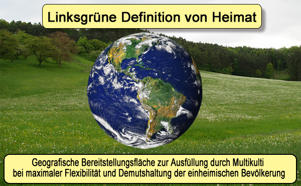 """Kampf um """"Heimat"""": Linksgrüne streben Deutungshoheit an  Die AfD macht es möglich, dass über alle Parteigrenzen hinweg der eigentlich von CDU, SPD, FDP, Grünen und Linken als Unwort gelistete Begriff der Heimat wieder in aller Munde ist.  Schmerzhaft haben die Konsensparteien bei der Bundestagswahl erfahren müssen, dass auch der deutsche Michel einen Rückzugsraum braucht. In seiner Heimat kann er seine Batterien auffüllen, um der Regierung Milliarden für heimatferne Ausgaben und Weltrettung zu generieren.  Der Begriffe Heimat und Patriot stehen seit Jahren als völlig unverfängliches Politikziel und Begriff im Grundsatzprogramm der AfD.  Selbstverständlich versuchen die Linksgrünen jetzt mit Macht, die Deutungshoheit an sich zu reißen. Dabei versuchen sie wichtige Bestandteile der Heimat (Gewohnheiten, Sitten, Gebräuche, Sprache, Identität, Kultur) aus dem Begriff Heimat auszugliedern und dem Begriff Nationalismus zuzuordnen.  Dies hat auch der nicht vom Volk gewählte Verlegenheits-Bundespräsident Steinmeier in seiner Rede zum Tag der deutschen Einheit verkündet, als er sagte:  """"Heimat weist in die Zukunft, nicht in die Vergangenheit."""" und damit den werte-erhaltenden Charakter des Begriffs Heimat völlig ausgrenzte.  Von """"Heimat"""" bleibt dann außer einer geografischen Lokalität nichts mehr übrig. DAS IST NICHT HEIMAT. DAS IST MULTIKULTI. Das hat nichts mehr mit dem landläufigen Verständnis von Heimat zu tun.  Automatisch werden damit Patrioten, die den Begriff Heimat als echte Heimat (Verbund Land, Leute, Sitten, Gebräuche, Kultur, Sprache) verstehen zu Nationalisten transformiert und damit wieder als Angriffsziel für linksgrüne Werte-Attacken positioniert.  Ein Patriot ist kein Nationalist,  Der Patriot genießt seine Heimat und möchte sie mit ihren Werten bewahren. Patriotismus wirkt nach innen.  Der Nationalist möchte seine Vorstellungen über die Grenzen hinaus anderen Ländern aufdrücken. Nationalismus wirkt nach außen.  Pasta. Punkt. Heimat ist gut. Patrioten sind G"""