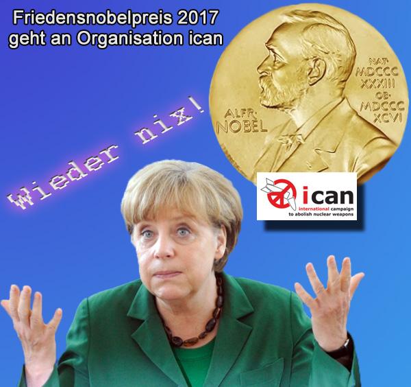 Bild zum Thema Friedensnobelpreis | The winner is: not Merkel  Och, Madame Merkel! Jetzt hat es schon wieder nicht funktioniert mit dem Friedensnobelpreis.  Dabei hat sie doch alles gegeben:  - weit über 100 Milliarden Euro investiert; - Recht gebrochen; - EU destabilisiert; - deutsche Gesellschaft gespalten; - Schutz der Bürger verkauft; - Islam als Gesellschaftsmodell eingeführt; - dem Volk Menschen geschenkt; - Goldstücke in die Sozialsysteme importiert; - Staatsbehörden bis zur Erschöpfung ausgelutscht; - Sicherheitsorgane an die Leistungsgrenze gebracht; - Ansbach, Berlin, Würzburg und 'Einzelfälle' in Kauf genommen.  Sehr, sehr schwache Rendite für diesen Einsatz. Sie sind eine miese Geschäftsfrau, Madame Merkel.  Aber solange Sie noch - von wem auch immer - gewählt werden, wird das schon seine Richtigkeit haben. :v   #friedensnobelpreis  #merkel  #asylchaos  #flüchtlingskrise  #massenmigration  #eu  #offene_grenzen  #flüchtlingskanzlerin