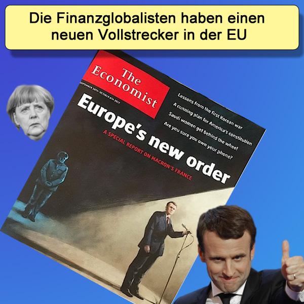 Bild zum Thema Merkeldämmerung in der EU | Macron neue Führungsmarionette  Die britische Wochenzeitschrift 'The Economist' stellt auf seinem Cover Merkel im Schatten und Macron im Scheinwerferlicht dar.  Das stellt wohl die neue Aufgabenstellung in der EU dar. Madame Merkel spielt das Hündchen, Emmanuel Macron das Herrchen.  Macron, der mit aller Gewalt auf den EU-Zentralstaat hinarbeitet,  wird ab sofort die Vorstellungen der globalen Finanzhaie in der EU umsetzen. Merkel wird ihm dabei den Rücken frei halten und dabei gleichzeitig nicht mehr so sehr als Reizfigur für die anderen EU-Staaten im Fokus stehen.  Ob jetzt MM (Madame Merkel) oder der libertäre Macron, die Entwicklung läuft in die falsche Richtung und die patriotischen Kräfte sind dringend aufgefordert, sich dieser Entwicklung massiv entgegen zu stemmen. Der Ausverkauf der Souveränität Deutschlands darf so nicht weiter gehen.   Inwieweit die beängstigende Nähe zu Frankreich mit seinen gesellschaftlichen  Fehlentwicklungen überhaupt für Deutschland empfehlenswert ist, darf bezweifelt werden. :v  #eu  #eurozone  #eu_zentralstaat  #macron  #merkel  #madame_merkel  #finanzglobalisen  #eu_marionette  #merkeldämmerung