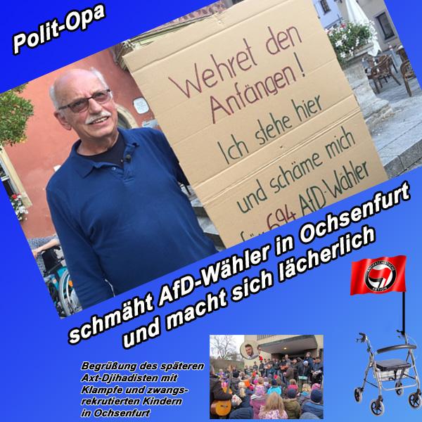 Bild zum Thema Ochsenfurt: Polit-Opa schmäht AfD-Wähler  Ein Rentner aus Ochsenfurt meint, dass er sich für die Ochsenfurter AfD-Wähler fremdschämen muss.  Der 70-jährige Schumann postiert sich jeweils montags zwischen 17 und 18 Uhr vor dem Ochsenfurter Rathaus. Dabei führt er ein Pappschild mit, das er mit 'Wehret den Anfängen! Ich stehe hier und schäme mich für 694 AfD-Wähler in Ochsenfurt.'  Der Polit-Opa, der offensichtlich irgendwelchen linken Enkeln was beweisen will, trägt völlig ungeniert seine Schmäh-Meinung in die Öffentlichkeit.   Der schlaue Alte propagiert seine 'Montags-Demo', 'Ein-Mann-Demonstration' und Fremdschäm-Aktion bundesweit über soziale Netzwerke und die Medien.  Bei einem Hörfunk-Interview hat die Rentner-Antifa natürlich kräfitig die Nazikeule geschwungen (tiefbraun, rassistisch, völkisch). Gehen Sie davon aus, dass der Verleumdungs- und Kollektivbeleidigungs-Greis noch keine einzige Seite im Programm der AfD zu Gesicht bekommen hat. Ohne Wissen oder wider besseres Wissen frechdreist sich der Öffentlichkeit zu präsentieren, passt absolut zur allgemeinen Vorgehensweise linksgrün verdrehter Geister.  Dass dem Opa noch niemand die Spur gestellt hat und ihn - am besten vor Publikum - argumentativ zum Mittelpunkt der Erde geschickt hat, sollte dieser nicht falsch verstehen. Es könnte daran liegen, dass ihn keiner ernst nimmt.  Siehe hierzu auch: http://www.br.de/nachrichten/unterfranken/inhalt/fremdschaemen-fuer-afd-wahler-in-ochsenfurt-102.html  #ochsenfurt  #rentner  #politopa  #fremdschämen  #afd  #frechdreist  #linke  #nazikeule  #dumpfbacke