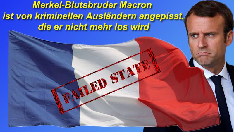 """Superfranzose Macron wird die kriminellen Ausländer nicht los  Die Realität ist ein hartes Ding, vor allem wenn man als links-libertärer Überflieger auf dem Boden der Tatsachen landet.  Sicher, in der EU hält Macron, der Typ ohne Programm, mit Feuereifer Reden, die - gespickt mit Vorschlägen zum EU-Zentralstaat - , außer Merkel keiner hören will.  Da das Brüderchen von Merkel bereits mit seinem lockeren Mundwerk, der Beleidigung von Arbeitern und seinen Reformansätzen zur Arbeitsmarktpolitik kräftig unter Druck im eigenen Land geraten ist, sieht seine Erfolgsbilanz eher ganz mäßig aus.  Ganz besonders angepisst scheint er von kriminellen Ausländern ohne Aufenthaltsstatus in Frankreich zu sein, die er nicht mehr los wird. Dabei haben sich die Franzosen den Salat mit ihrer linkslibertären Gesetzgebung selbst eingebrockt: wenn ein Ausländer als Straftäter verurteilt wird, darf er nicht abgeschoben werden, weil dies dann eine Doppelstrafe sei. Une telle merde. D""""rum prüfe sein Gehirn, wer beabsichtigt, ein Gesetz zu erlassen. Auch in Frankreich diktiert eine rotgrüne Establishment-Clique der Gesellschaft ihre verquirlte Ideologie.  Natürlich herrschen in Frankreich aufgrund der kolonialen Vergangenheit des Landes noch ganz andere Zustände, als man sie sich hierzulande auch nur vorstellen möchte oder könnte.  Umso massiver der Druck der Franzosen auf Macron, Ordnung in den Multikulti-Schlamassel zu bringen und die Sicherheit wieder herzustellen.   Sollte Macron - ähnlich wie Merkel und ihre rotgrünen Claqueure - nicht von selbst draufkommen, so sei es ihm hier gesagt: sind sie erstmal im Land, kriegst du sie fast nicht mehr los. Malchance.  #frankreich  #macron  #krimigranten  #doppelstrafte  #abschiebungen   #Date:10.2017#"""