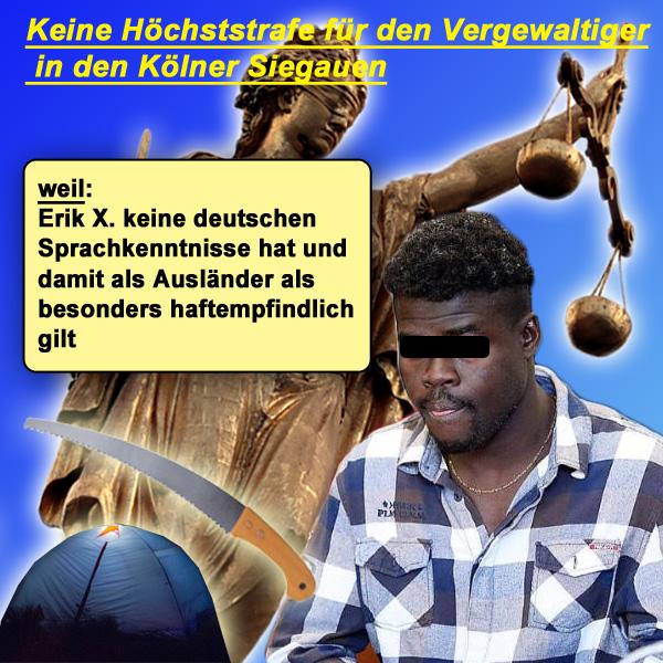 """Bonn-Siegauen-Vergewaltiger verurteilt  Im April hatte der abgelehnte ghanaische Asylant Erik X. ein Pärchen überfallen und die Frau vergewaltigt. Bedroht wurden die Opfer mit einer Astsäge. Desgleichen beraubte der Täter die beiden Studenten. Die Opfer mussten mehrfach bei der Polizei um Hilfe betteln, da sie von der Notrufzentrale nicht ernst genommen und ausgelacht wurden.  Der Täter erhielt 11 1/2 Jahre Gefängnis. Die Richter blieben damit unter der Forderung der Staatsanwaltschaft, die 13 Jahre beantragt hatte.   Der Richter sagte in der Urteilsverkündung, dass für den Angeklagten wenig, aber nicht nichts spreche (!!).  Damit meinte er: - Erik X. ist offiziell nicht vorbestraft (es läuft jedoch ein Verfahren wegen Körperverletzung gegen ihn) - weil der Täter nicht deutsch spricht, gilt er als Ausländer als besonders haftempfindlich - seine Tat sei eine Spontantat gewesen.  Wir freuen uns, dass dem Gericht nicht noch einiges mehr an """"nichts nicht"""" eingefallen ist. Man hätte vielleicht noch die Frechheiten von Erik X. und jedwedes Fehlen von Einsicht in das Unrecht der Tat während der Verhandlung als schuldmindernd werten können.  #bonn  #vergewaltigung  #asylant  #ghana  #einzelfall  #abschiebung  #strafe  #justiz   #Date:#"""
