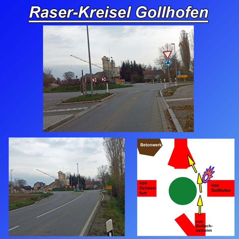 Bild zum Thema LK Nea-Bw Gollhofen: Kreisverkehr mit Raser-Spur  Der am Ortsausgang Richtung Ochsenfurt gebaute B13-Kreisverkehr hat durch seine Lage und Konstruktion eine nicht ungefährliche Raserspur durch den Kreisel geschaffen.  Der Drehpunkt des Kreisels liegt nicht zentral zu den vier Ein- und Ausfahrten. Insbesondere die Ein- und Ausfahrten Betonwerk und Gollachostheim sind stark verschoben.   Aus Richtung Gollachostheim bedeutet dies, dass die Querung des Kreisels Richtung Betonwerk aufgrund der extrem flachen Mündungswinkel mit hohen Geschwindigkeiten gefahren werden können. Wobei die Ausfahrt Richtung Betonwerk noch dazu sehr breit angelegt ist.  Diese schnellen Einfahrten sind für Fahrzeugführer aus Richtung Gollhofen weder zu erwarten, noch können diese eingeschätzt werden.  Wie man leicht beobachten kann, wird die Raserei durch den Kreisel fast ausschließlich von Einheimischen betrieben, da für Ortsunkundige die Situation am Kreisverkehr aus Richtung Gollachtostheim nicht so klar ersichtlich ist.  Ob PKW, LKW oder Traktoren: einige Herrschaften spielen ganz schön mit dem Feuer. Sollte der Verkehr aus Richtung Gollachostheim nicht durch bauliche Maßnahmen gebremst werden, wird es wohl noch öfter kräftigst knallen.