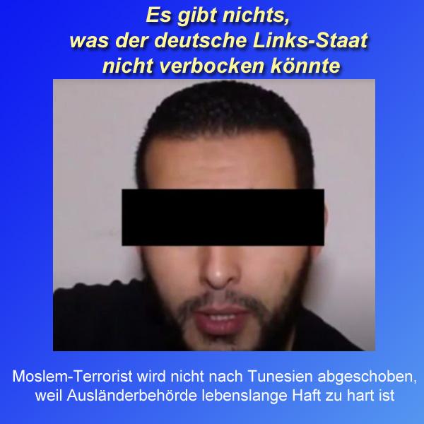 """Bundesregierung handelt für Radikalmoslem Strafnachlass aus  Der Moslemterrorist Haikel S. hatte sich aus seiner Heimat Tunesien nach Deutschland abgesetzt (es gibt nichts einfacheres).  Haikel S. sollte in Tunesien der Prozess gemacht werden, weil er an islamextremistischen Attentaten mit mehr als 20 Toten beteiligt war.  Anfangs des Jahres wurde der Terrorist in Deutschland festgenommen. Hessisches Innenministerium und (natürlich hochgeklagt bis zum geht-nicht-mehr) das Bundesverwaltungsgericht erkannten eine """"hochgradige Gefahr"""" und verfügten eine unmittelbare Abschiebung.  Aufgrund der Gefährlichkeit des Delinquenten sollte die Abschiebung als Einzelabschiebung per gechartertem Lear-Jet plus verstärktem Wachpersonal erfolgen.  In letzter Minute stellte der Massenmörder einen Asylantrag. Dieser wurde abgelehnt. Jedoch erwirkte die Ausländerbehörde einen Abschiebestopp. Der Grund dafür waren Verhandlungen mit Tunesien.   Zwar war Tunesien bereit, den Terroristen zurück zu nehmen.   Das genügte jedoch der Bundesregierung nicht.   Als erstes erfolgten Verhandlungen über einen Verzicht der Tunesier auf die Todesstrafe für den Islamisten. Tunesien war bereit zur Umwandlung in eine lebenslängliche Freiheitsstrafe.  Das genügte jedoch der Bundesregierung wiederum nicht.  In Tunesien bedeutet nämlich lebenslange Haft auch tatsächlich lebenslange Haft. Es müsse aber in jedem Fall die Möglichkeit einer Verkürzung der Haftstrafe bestehen insistierten  die Deutschen.  Ergebnis: der Terrorist wird nicht ausgeliefert und bleibt erstmal bis Mitte 2018 in Deutschland in Haft.  Man kann sich nicht brutaler selbst schaden. #Date:10.2017#"""