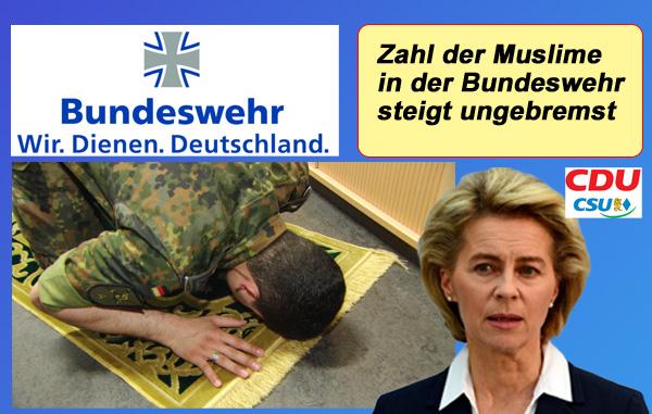 """Bundeswehr: Zahl der Muslime steigt unentwegt  Unter dem von der CDU bislang verantworteten Bundesverteidigungsministerium steigt die Zahl der Muslime bei der Bundeswehr unaufhaltsam. Dem hat """"Bundesverteidigungsministerin"""" Ursula von der Leyen außer dem bekannt süffisanten Grinsgesicht nichts entgegen zu setzen.   Allein beim Landeskommando Baden-Württemberg (also den in BW stationierten Soldaten) liegt der Anteil der Muslime bereits bei 24%.  Herr gib, dass Flintenuschi aus diesem Job fliegt.  http://www.stuttgarter-zeitung.de/inhalt.muslime-in-der-bundeswehr-sohnes-land.1d6d2b23-f22b-4d15-be4d-c5167f27e921.html  #bundeswehr  #muslime  #anteil  #steigend  #landesverteidigung  #cdu  #leyen  #grinsgesicht  #flintenuschi #Date:11.2017#"""