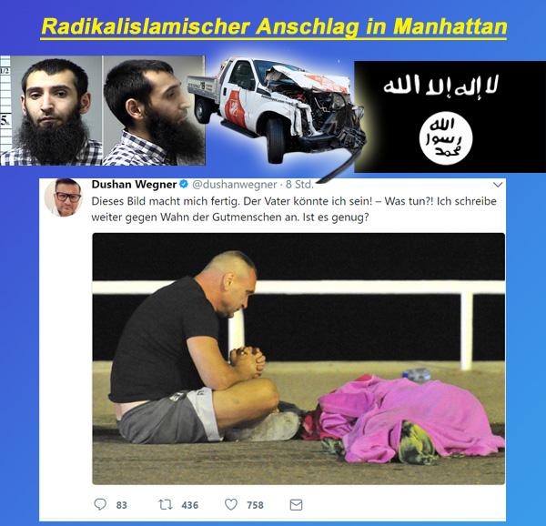 Radikalislamischer Anschlag von Manhattan  #ManhattanAttack  #NewYork  #usa  #radikalislam  #isis  #is  #daesh  #islamischer_staat  #SayfulloSaipov  #greencard  #usbeke   http://www.n-tv.de/politik/IS-feiert-Manhattan-Attentaeter-article20114473.html  http://www.bild.de/politik/ausland/isis/isis-reklamiert-new-york-anschlag-fuer-sich-53739408.bild.html #Date:11.2017#