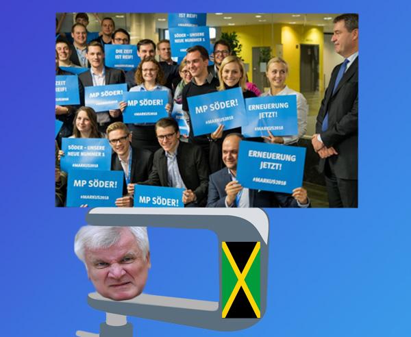 """Bayern: CSU-JU und Söder geben Seehofer richtig Gas  Nachdem Horst Seehofer angeblich wegen der Jamaika-Sondierung sein Erscheinen bei der Landesversammlung der Jungen Union in Erlangen absagte und dafür Markus Söder triumphalen Einzug hielt, stehen die Zeichen auf """"Wir wollen Ergebnisse sehen"""".  Seehofer wird sich mächtig reinhängen müssen, um von den Koalitionsverhandlungen mit Grünen, Gelben und CDU  mit brauchbaren Ergebnissen nach Bayern zurückkommen zu können.  Es ist mehr als fraglich, dass es zu allzuviel mehr als faulen Kompromissen kommt, die nach Außen vieles versprechen und nach Innen nicht das Papier wert sind, auf dem sie geschrieben stehen.   Dafür garantieren schon allein die grüne Gurkentruppe und die Machtgeilheit von Flüchtlingskanzlerin Merkel.  https://www.br.de/nachrichten/junge-union-fordert-neuanfang-ohne-seehofer-102.html  Bild 2338 #Date:11.2017#"""