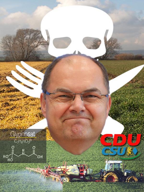 """RoundUp-Fan Christian Schmidt durfte wieder nicht   Noch- (hoffentlich!) Bundeslandwirtschaftsminister Christian Schmidt CSU durfte wieder nicht FÜR eine Verlängerung der Zulassung des Pflanzenschutzmittels Glyphosat stimmen. Erneut sah er sich gezwungen, sich der Stimme im Ständigen Ausschuss der EU für Pflanzen, Tiere, Lebensmittel, Futtermittel zu enthalten. Grund: die Noch-Koalitionsräson, weil die SPD gegen Glyphosat ist. [1]   Während Schmidt mit Argumenten für die konventionelle Landwirtschaft(sindustrie) PRO Glyphosat arbeitet, argumentieren Länder wie Frankreich, Österreich und Italien mit vorbeugendem Gesundheitsschutz für die Bevölkerung CONTRA Glyphosat.   Unser Freund Schmidtchen Schleicher ist also ein echter Menschenfreund. Er ist übrigens auch ein exzellenter Tierfreund, wie die Tiererzeugerindustrie und die Vereinigten Schächt-Fanatiker sofort bestätigen können.   Glyphosat wird über das Totalherbizid (vernichtet ALLES) """"RoundUp"""" ausgebracht. Der Hersteller macht seit den 70-iger Jahren damit unglaubliche Umsätze.   Seitdem massive Bedenken über die Harmlosigkeit von Glyphosat aufgetaucht sind, wird die Zulassung des Mittels von der EU nur noch temporär erteilt. Nächster Auslauftermin ist Mitte Dezember 2017.   Während sich Befürworter eines Verbots an einer Studie der Weltgesundheitsorganisation orientieren, folgen die Glyphosat-Entwarner einer Studie des Bundesinstituts für Risikobewertung BfR. Dem BfR wird in diesem Zusammenhang vorgeworfen, seitenlang Originaltexte von Monsanto ohne Angabe des Verfassers in seine Bewertung habe einfließen lassen. [2]   [1]  http://www.br.de/nachrichten/abstimmung-glyphosat-zulassung-verschoben-100.html   [2]  https://www.merkur.de/wirtschaft/gutachten-glyphosat-bericht-bundesinstituts-ist-ein-plagiat-zr-8745116.html   #glyphosat #monsanto #roundup #zulassung #krebserregend #verdacht #bundeslandwirtschaftsminister #eu #schmidt #csu #enthaltung #landwirtschaftsindustrie #massentierhaltung #tierschutz #schächten   """