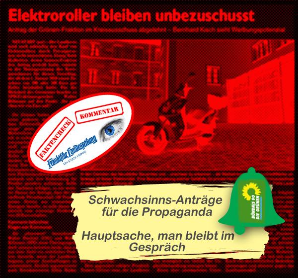 Bild zum Thema LK Nea-BW: Grüner Schwachsinnsantrag, aber Propaganda  Immerhin einen vierspaltigen Artikel mit Foto in der FLZ hat den Grünen im Landkreis der Antrag eingebracht, Motorroller mit Elektroantrieb zu bezuschussen.  Ruth Halbritter; Grünen-Kreisrätin aus Rudolzhofen (das ist da, wo AfD-Wahlplakate zur Bundestagswahl verschwunden sind), hatte den Antrag im Kreistag eingebracht, dass man den Kauf von Elektrorollern mit 200 bis 300 Euro seitens des Landkreises bezuschussen solle, plus 20 Euro bei Bezug von 100% Strom aus erneuerbaren Energien durch den Halter.  Als Begründung wurde angeführt, dass das Gefährt in Elektroausführung LOKAL weniger Emissionen produziere und total geeignet sei, damit sich Pendler im Landkreis fortbewegen können.  Der Kreisausschuss hatte die vornehme Aufgabe, sich mit dem grünen Ideologie-Antrag auseinanderzusetzen.   Prechtel CSU und Billmann SPD bezeichneten den Antrag als 'ehrenwert'. LOL.  Schließlich folgte man den rechtlichen Bedenken von Kämmerin Ripka und Landrat Weiß und lehnte den Antrag ab.  Fazit: Arbeitsbeschaffung für den Kreisausschuss, Propaganda für die Grünen, Flucht in rechtliche Bedenken.  An den Schwachsinnsgehalt des Grünen-Antrags traute sich wieder keiner ran: gerade in einem Flächenlandkreis ist ein Kurzstreckenfahrzeug eben nicht geeignet; Roller können nur von Personen benutzt werden, die fit sind und Roller sind reine Saisonfahrzeuge, die zudem nur bedingt mehr können, als eine Person zu transportieren.   Voll der Quatsch, aber Gegenstand einer ernsthaften Diskussion um den heißen Brei.   #LkNeaBw #kreisausschuss  #flz  #grüne  #propaganda  #schrottantrag  #elektroroller  #bezuschussung  #ehrenwert  #rechtslage  #halbritter  #prechtel  #billmann  #ripka  #weiss