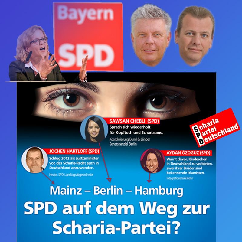 """Bayern-SPD auf der Spur von """"Islamfeinden""""  Die SPD sorgt sich um die knapp 600.000 Moslems in Bayern.  Süffisant hat sie sich daher an die Staatsregierung mit einer Anfrage gewandt, wie es denn um die """"Islamfeinde"""" im Freistaat bestellt sei.  Prompt gab das von Herrmann CSU Antwort und hatte hierzu sofort statistische Daten parat. Demnach seien die """"islamfeindlichen"""" Aktionen im Jahr 2017 bei 119 Demos, im Jahr 2016 bei 219 Veranstaltungen gelegen.  CSU und SPD scheinen sich demnach einig zu sein, dass Kritik am Islam in Islamfeindlichkeit umgemünzt wird. Die typische Totschlag-Methode jeglichen Aufbegehrens durch die Blockparteien.  Merke: wenn CSU und SPD nicht gnadenlos Angst davor hätten, dass die Bürger jetzt ein Sprachrohr durch die AfD haben, sie würden Bayern schneller in ein Multikulti-Tollhaus verwandeln, als man es sich vorstellen möchte.  #bayern  #spd  #islam  #moslem  #islamkritik  #islamfeinde #Date:11.2017#"""