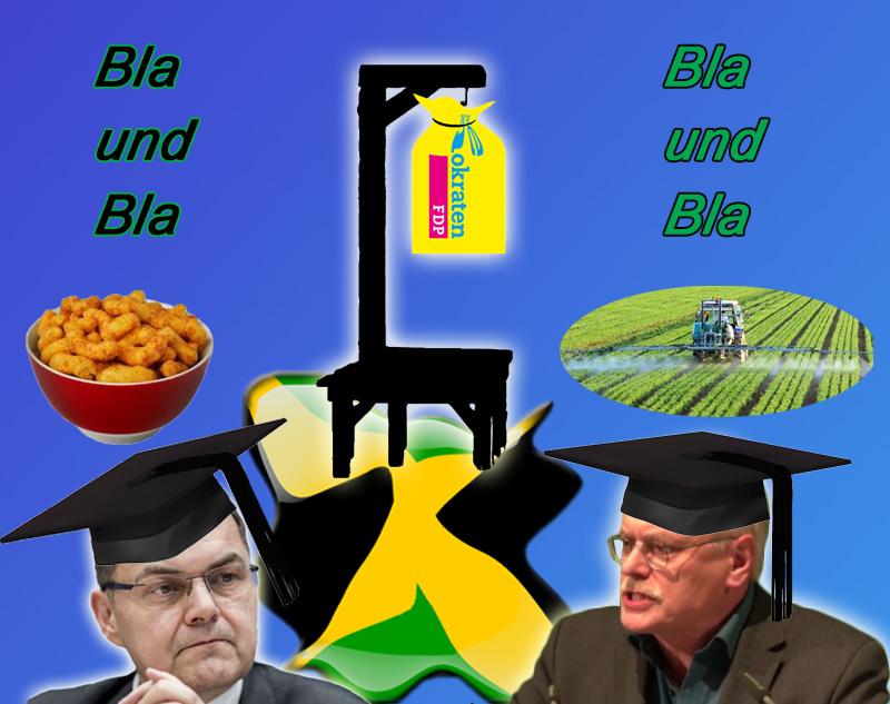 CSU Schmidt und Grüner Kekeritz beim Geifern über FDP-Ausstieg bei Jamaika  Wirklich interessant, was die beiden Spezialisten nach dem Ende von Jamaika so abgesondert haben.  Schmidt, ja, der Schmidt, der für Bayer/Monsanto und die Tierindustrie die alte Koalition und die anstehende Sondierung mit der SPD aufgemischt hat, geriert sich als Staatsmann. Hat er  doch tatsächlich gerade Salzstängchen und Erdnussflips gespeist (ach Gottle, die hat er auch noch für Parteikollegen ausgegeben, das ist so cooooooooooooool), als die FDP-Delegation die Sondierungen abgebrochen hat. Das zeigt uns: nein, Schmidt war kein Zaungast. Kaum klinkt sich Schmidt mit seinen Erdnssflips aus, ist Jamaika gestorben. Und, so Schmidt damals: jetzt muss die SPD ran (hahahaha). Merde.   Der Grüne Uwe Kekeritz, über die Liste in den Bundestag gerutscht, war zwar kein Mitglied im Sondierungs-Team, fühlt sich aber bestens informiert. Er erklärt, dass die FDP nicht regierungsfähig sei. Über dieses Statement eines Grünen darf sich die FDP freuen, denn es gereicht ihr zur Ehre, wenn sie unter Regierungsfähigkeit und Regierungsverantwortung etwas anderes versteht, als, der Claudia Roth sehr verbundene, Kekeritz. Kein Wort von Kekeritz, dass die Grünen vor lauter Machtgeilheit sogar die Wiederzulassung von Glyphosat bei der Jamaika-Sondierung durchgewunken haben. Laut CSU Schmidt bestand auf dem Gebiet der Landwirtschaft keinerlei Dissens mit den Grünen, was man eigentlich nicht für möglich halten sollte (Überdüngung, Glyphosat, Massentierhaltung, Tierschutz, Biogas etc.). Aber dazu passt das Schweigen oder sogar die Unterstützung der Grünen für Islam, Multikulti, Schächten.  Schon irre, wenn man sich im Rückblick das Geschmarre des Schwarzen und des Grünen anschaut. Und was darin an Substanz enthalten ist.  Quelle: FLZ vom 21.11.17  #jamaika  #sondierung  #csu  #schmidt  #grüne  #kekeritz  #glyphosat  #landwirtschaft  #tierschutz  #fdp  #regierungsfähig    #Date:12.2017#