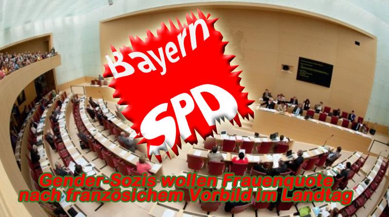 Bild zum Thema Bayern SPD: Mit Glück überhaupt noch im Landtag, aber Frauenquote fordern  Die Bayern SPD eifert sowohl beim Absturz der Partei, als auch bei den Vorbildern der Bundes-SPD nach.  So wie Schulz 2025 Deutschland durch Selbstaufgabe in die Vereinigten Staaten von Europa nach den Vorstellungen des französischen Guru-Präsidenten Macron überführen will, möchten die Moral-Sozialisten in Bayern eine 50/50-Frauenquote im Landtag durchsetzen. Und natürlich ebenso nach französichem Vorbild.  Allein die uneingeschränkte Sympathie für die katastrophalen französichen Multikulti-Zustände zeigt, was das Ziel der SPD für Bayern und Deutschland ist.  Nach dem Willen der Bayern-Sozis sollen die Wahlkreislisten der Parteien abwechselnd mit Männern und Frauen besetzt werden müssen.  Mit diesem Vorstoss wissen wir jetzt auch, dass die SPD Landespolitik für einen Spielplatz hält, in dem sie ihre verqueren Gender-Ideologien austoben kann.  Seid ihr mal froh, wenn ihr überhaupt noch in den Landtag kommt.  #spd  #landtag  #ltwBY2018  #frauenquote  #wahlkreise  #listen