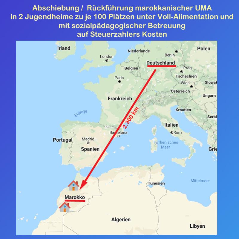 Bild zum Thema >> Minderjährige Migranten: Deutschland plant Abschiebungen nach Marokko  Die Bündesregierung plant die Abschiebung von sogenannten Unbegleiteten Mindejährigen Asylbewerbern (UMA) nach Marokko.   Eines ist klar: wenn überhaupt etwas passiert, dann  wird es ein teurer Spaß.  Die Abschiebung von UMA ist nur unter engen Voraussetzungen möglich. Klar, dass sich Deutschland hier wieder selbst mit seiner vorauseilenden völlig überzogenen Pseudo-Humanität ein Bein stellt.  Aufgrund der massiven Straftaten von (angeblich) jugendlichen Asylanten aus Nordafrika und insbesondere aus Marokko sieht sich die Bundesregierung zum Handeln gezwungen.  Schon allein die von Fachleuten geäußerte Vermutung, dass ein Großteil der vermeintlich Minderjährigen viel älter ist, zeigt die Banalität, die unser Land zu Absurdistan macht. Der letzte schlagzeilenträchtige Fall war wohl der von Hussein K., der wegen Sexualmordes bis zur Gerichtsverhandlung als 19-Jähriger galt. Eine  Zahnuntersuchung ergab im Rahmen der Mordermittlungen, dass der Bub 34 Jahre alt ist.  Nächster Knackpunkt beim verzweifelten Aktionismus der Bundesregierung: obwohl die UMA fast täglich per Handy Kontakt zu ihren Familien haben, rücken diese nicht mit den entsprechenden Informationen heraus. Die Bundesregierung sieht sich daher nur dann zu Abschiebungen von UMA in der Lage, wenn sie in Marokko zwei Jugendheim errichtet und betreibt, in die die Herrschaften abgeschoben werden können und dann natürlich weiterhin alimentiert werden müssen. Selbstverständlich inbegriffen ist ein sozialpädagogische Betreuung.  Nochmals: wir sprechen hier von einem Personenkreis, der illegal nach Deutschland eingereist ist und der in den meisten Fällen mit Handy, aber ohne Ausweispapiere angekommen ist.  Es ist ein Elend, was uns Merkel und der Hypermoralismus der Gutmenschen-Fraktion eingebrockt haben. Wir werden noch lange daran löffeln.  #asylchaos  #massenmigration  #unbegleitete  #minderjährige  #fluechtlinge  #asylanen  