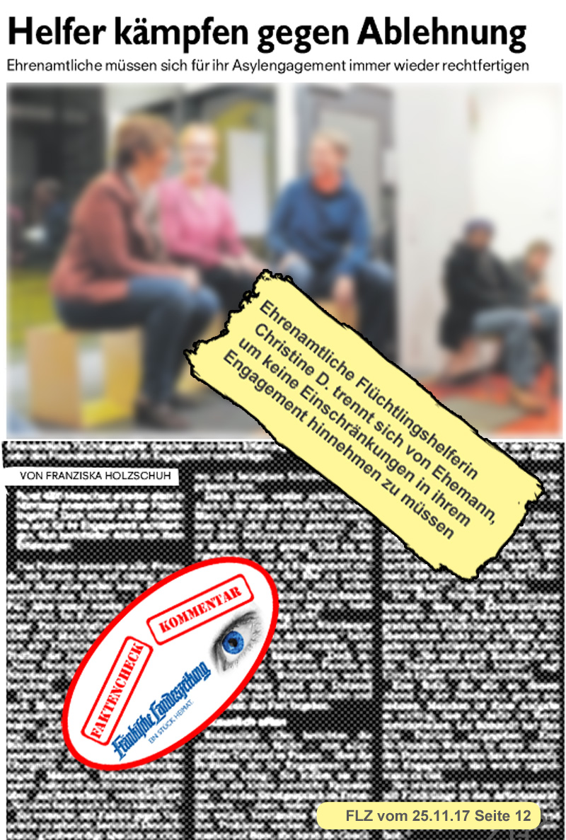 """>> Nürnberg: Treffen der  Flüchtlingshelfer – Krasse psychische Abgründe  Das Netzwerk ?Neue deutsche Medienmacher"""" (NDM) veranstaltete in Nürnberg ein Treffen der meistgestressten Bürger: den Flüchtlingshelfern.  NDM hat das Ziel interkulturellen Journalismus zu betreiben. Es ist schlicht ein Lobbyverband für Multikulti. Die Argumentation ist: jeder fünfte Einwohner Deutschlands hat einen Migrationshintergrund. Dagegen habe bei den Journalisten nur jeder Fünfzigste einen Migrationshintergrund. Das darf nicht sein, da die Migranten so automatisch  in der öffentlichen Meinung unterrepräsentiert seien. Wenn sich dies nicht von selbst ergebe, wolle man dieses Ziel mit der Gründung von Ethno-Medien erreichen.[1]  Dass ein derartiges Unterfangen Geld kostet, ist klar, aber kein Problem. Diverse Bundesministerien und Bundesbehörden, die Bundeszentrale für Politische Bildung, die Bertelsmann-Stiftung (Maas-Zensurorganisation!) und Gewerkschaften werden verschämt als ?Partner"""" ausgewiesen. [2]  Ja, Geduld bitte. Sie haben es erwartet und hier kommt es: auch die von Anetta Kahane aka IM Victoria geführte Amadeu-Antonio-Stiftung, die Speerspitze der von Bundesjustizminister Heiko Maas SPD ins Leben gerufenen Zensur-Unkultur in Deutschland,  unterstützt die NDM. Und klar: das Lokale Netzwerk Nürnberg der NDM wird von einer Dame geführt, die vordem bei der Amadeu-Antonio-Stiftung gearbeitet hat: Alice Lanzke. [3] [4]  Zurück zu dem Treffen der Flüchtlingshelfer in Nürnberg, welches aufgrund des veranstaltenden NDM für die Zentralredaktion der Nürnberger Presse ein Pflichttermin  war.  Gut, das übliche Gejammere, der in ihrem Hypermoralismus gefangenen und von ihrer grenzenlosen Hyperethik getriebenen Mitbürger. Meistens Frauen, das haben wir uns schon gedacht. Eine davon, Christine D. aus R., hat sich als Krönung ihrer Karriere als Flüchtlingshelferin ein besonderes Schmankerl gegönnt: damit der lästige Ehemann sie nicht dauernd in ihrem Engagement bremst, hat sie sich kurzerha"""