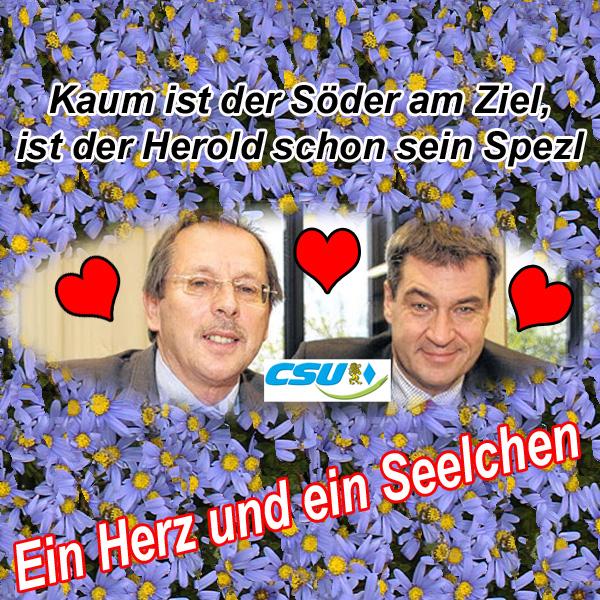 Bild zum Thema >> LK NEA-BW Landtagswahlen: CSU-Stimmkreisabgeordneter Herold schleimt mit guten Kontakten zu Söder um die Wählergunst  In einem Bericht der Fränkischen Landeszeitung FLZ vom 5.12.2017 kann sich der CSU-Landtagsabgeordnete Hans Herold aus Ipsheim gar nicht genug seiner guten Kontakte zum designierten nächsten bayerischen Ministerpräsidenten Markus Söder rühmen. Und natürlich ist der Spezl Söder ein klasse Typ, der als Franke halt weiß, wo seine Freunde sitzen.  Was soll uns das sagen?   ?? CSU wählen und weiter in Spezl-Wirtschaft investieren. Doch merke: es gibt immer einen, der noch ein besserer Spezl ist.  #bayern  #LkNeaBw #csu  #landtagswahlen #StimmkreisNeaBwFüLand  #herold  #söder #spezlwirtschaft #LtwBy2018