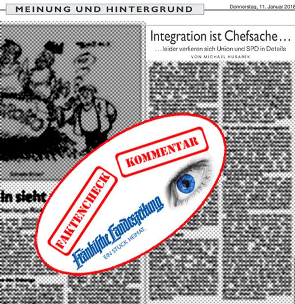 >> Integration ist Chefsache: Ein Kommentar-Irrläufer von Michael Husarek  Die Zentralredaktion der Nürnberger Medien, in persona Michael Husarek, reibt sich an den Sondierungsgesprächen zur GroKo zwischen CDU, CSU und  SPD.  Husarek ist die Flüchtlingsproblematik zu kurz gekommen  Witzig, witzig, dass ein erfahrener Journalist den Möchtegern-Koalitionären auf den Leim geht. Natürlich wird das Flüchtlingsthema nur am Rande erwähnt und auch nur, weil sich die CSU ein bisserl daran aufhängt.  Denn, obwohl die unselige Flüchtlingspolitik von Merkel die größte, härteste und kostspieligste Herausforderung für unsere Gesellschaft ist, wird sie aus Gründen der Polit-Taktik ganz nebenbei erwähnt, weil hier sowohl CDU, CSU und SPD Angst vor ihrer Klientel haben und dieses Thema komplett von der AfD besetzt wird.  Husarek meint, Integration muss Chefsache sein Völlig klar, dass für die rot-grünen Aktivisten nur noch eines wichtig ist: Integration immer, vorrangig, überall, für jeden Migranten, ohne Rücksicht auf Verluste und ohne finanzielle Grenzen. Hinter dieser Halluzination tritt alles andere zurück. Dabei ist die sogenannte Integration 1. völlig überbewertet, 2. nur in wenigen Fällen angebracht und 3. bei subsidiär Schutzberechtigten völlig unsinnig.  Husarek versucht dem Leser Äpfel für Birnen zu verkaufen Wild durcheinander werden Flüchtlinge, Asylanten, Migranten geworfen und alles in dem Ruf nach einem Einwanderungsgesetz vereint. Unter ein Einwanderungsgesetz würde mit Sicherheit fast KEINE der in den letzten  Jahren nach Deutschland gekommenen Personen fallen. Ein Einwanderungsgesetz stellt mit Sicherheit Anforderungen, die keine der vorher genannten Personen erfüllen könnte. Würden wir endlich ein Einwanderungsgesetz haben, dann würden die Schutzbefohlenen der Rot-Grünen leider, leider den selben, lediglich humanitären, Status haben, wie dies auch jetzt der Fall ist. Für Husarek keine Frage: primär ist Mulitkulti positiv besetzt Multikulti meint der rot-grüne Ideo