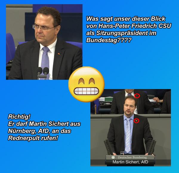 >> Deutscher Bundestag: Bilder sprechen Bände  Hier und heute:  Bundestagsvizepräsident Hans-Peter Friedrich, CSU, ruft Martin Sichert, AfD zu seiner Rede auf. LOL  #bundestag  #friedrich  #csu  #sichert  #AfDimBundestag #Date:01.2018#