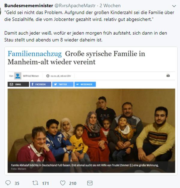 >> Familiennachzug: So sehen 1.3 Nachzugspersonen pro Flüchtling durch die links-grüne Brille aus  Und warum bitte Familiennachzug aus Syrien für subsidiär Schutzberechtigte. Also für Personen, die nur nach unseren Gesetzen vorübergehend aufgenommen wurden?  Du kannst deinen Kopf wetten, dass diese subsidiär Schutzberechtigten NIE mehr nach Syrien zurückkkehren.  #asylchaos  #massenmigration  #familiennachzug  #subsidiär #Date:01.2018#
