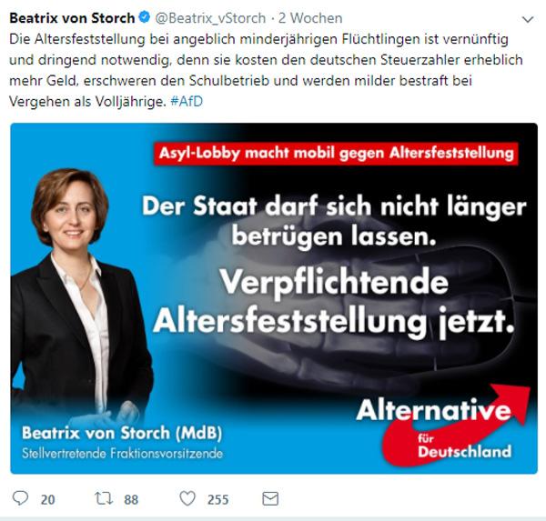 Bild zum Thema Beatrix von Storch zur Notwendigkeit der Altersfeststellung von Flüchtlingen