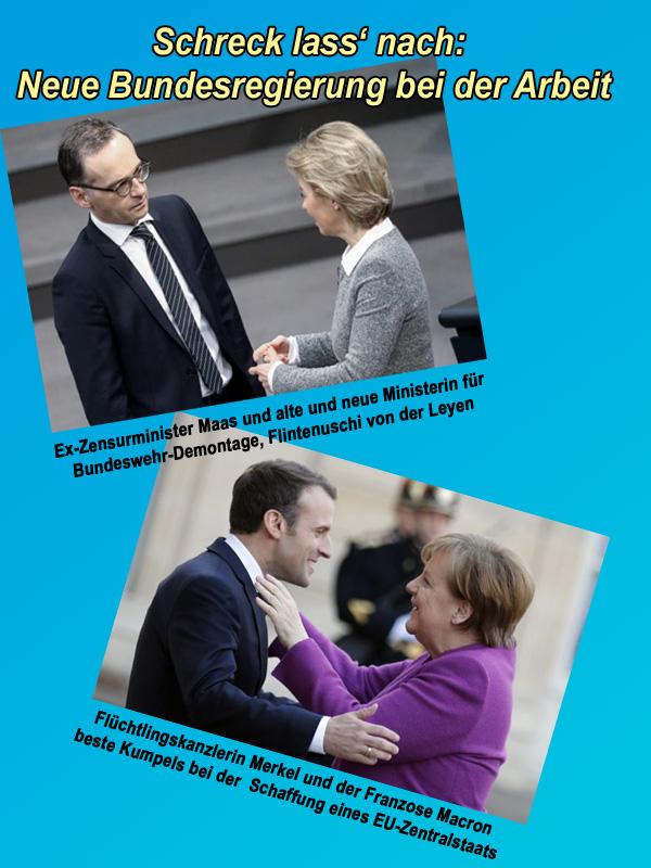 >>  Neue Bundesregierung: Eifrig bei der Arbeit  Jetzt ist es geschafft und die neue Bundesregierung unter Merkel kann loslegen.  Angesichts des Regierungspersonals kann es einem bei so manchem Anblick nicht nur die Stimmung verhageln, sondern richtig schlecht werden.  #merkel4  #bundesregierung #Date:03.2018#