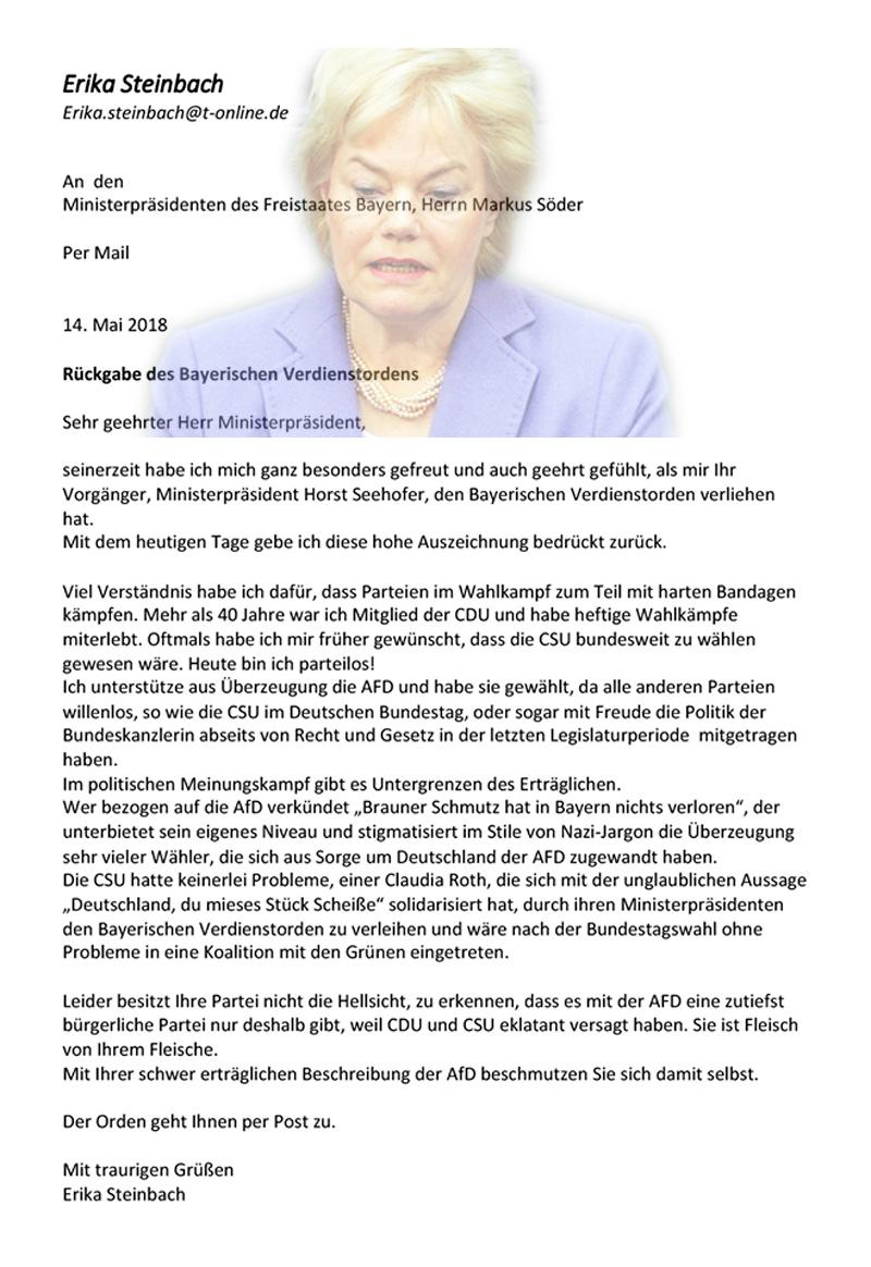 >> CSU-Unverschämtheiten: Erika Steinbach gibt den Bayerischen Verdienstorden zurück  Nach der Hetze der CSU gegen die AfD gibt Erika Steinbach, seit 40 Jahren in der CDU, den ihr verliehenen Bayerischen Verdienstorden zurück.   Steinbach war bereits 2017 aus der CDU-Bundestagsfraktion ausgetreten, weil sie die toxische Merkel-Politik nicht mehr ertragen konnte.  Nach den beleidigenden Ausfällen der CSU gegen die AfD vom letzten Wochenende im Rahmen des CSU-Landtagswahlprogramms, schrieb Steinbach Ministerpräsidenten Markus Söder ein paar Worte ins Stammbuch und warf den Verdienstorden hinterher.  #csu  #landtagswahl  #bayern  #afd  #beleidigungen  #söder #verdienstorden  #steinbach  https://jungefreiheit.de/politik/deutschland/2018/steinbach-gibt-bayerischen-verdienstorden-zurueck/ #Date:05.2018#