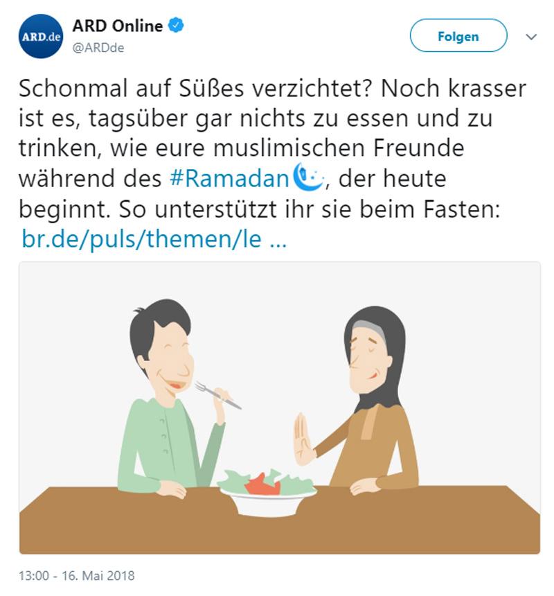 >> Deutschland > Kultur: Der Ramadan gehört nicht zu Deutschland  Während die grünlinke Ilusionistengemeinde, der Bundesinnenminister von der CSU und die beiden christlichen Kirchen den islamischen Fastenmonat Ramadan beweihräuchern, als wären wir in Saudi-Arabien, kann man nur davor warnen, diesen als Multikulti-Happening abzutun.  Derweil propagiert der Staatsfunk ARD kräftig den Ramadan bei Kindern und Jugendlichen. Der staatliche Deutschlandfunk verkündet gar, der Ramadan sei deutsche Tradition.  #ramadan  #islam  #anbiederung  https://jungefreiheit.de/politik/deutschland/2018/von-storch-ramadan-gehoert-nicht-zu-deutschland/ #Date:05.2018#