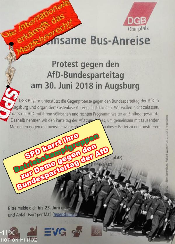 >> AfD-Bundesparteitag: SPD mobilisiert die Betriebskampfgruppen des DGB zum letzten Gefecht  Seit Monaten mobilisieren Linke, Grüne und Extremisten, DRECKS-antifa und autonome ihre Truppen, um gegen den Bundesparteitag der AfD Ende Juni in Augsburg zu marschieren.   Suggeriert werden soll damit dem Bürger, dass eine kleine, lautstarke und in weiten Teilen gewaltbereite Gruppe aus grünen/linken Ideologie-Antidemokraten die Mehrheit der deutschen Gesellschaft darstellt.  Wir wissen, dass dies nicht so ist. Vielmehr wird es Zeit, sich nicht mehr von Krawallmachern und antidemokratisch-selbstzerstörerischen Kräften in eine Minderheitenposition drängen zu lassen. Die Zeiten, in denen die grünen/linken internationalistischen Weltrettungs-Phantasten der Mehrheit der Bürger ihre Ideologie aufs Auge gedrückt haben, müssen endlich vorbei sein.   Wir sind an einem Punkt in unserer Zeitgeschichte angelangt, der eine ernsthafte Bedrohung durch die EU und die Welcome-Klatscher des Merkel-Regimes für die von uns geschaffenen Werte in unserer Gesellschaft  darstellt. Schluss mit den rotzfrech öffentlich postulierten Forderungen der Grünen/Linken nach einem Ausverkauf unserer gewachsenen Gesellschaft.   Sowohl das Bayerische Landesamt für Verfassungsschutz, als auch der Bundesverfassungsschutz, haben in jüngster Zeit wiederholt davor gewarnt, dass der um sich greifende Linksextremismus zu einer ernsten Gefahr für unsere Demokratie wird.   Dabei ist besonders widerlich, dass Drecks-antifa, autonome und linksfaschisten mit offener und verdeckter Unterstützung agieren. Rückhalt, Deckung und Finanzierung geschehen durch linke und grüne Parteigänger, teilweise auch ganz offen durch Förderung aus öffentlichen Töpfen.  Es reicht. Der Bundesparteitag der AfD wird stattfinden und wieder Meilensteine auf dem Weg zur Bewahrung der deutschen Gesellschaft, unserer Kultur und Heimat setzen.   #dgb  #spd  #betriegskampfgruppen  #afd  #bundesparteitag  #AfDbpt #augsburg  #antidemokraten  #Date:06.