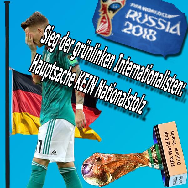Bild zum Thema >> Fussball: WM-Aus für grünlinke Internationalisten ein Sieg | Hauptsache KEIN  Nationalstolz  Jetzt können sie jubeln, die grünlinken Deutschland-Verscherbler. Die deutsche Nationalmannschaft – oder besser gesagt 'Die Mannschaft' lt. Vorgabe des DFB - ist raus aus der WM.  Da hätte sich die Jugendorganisation  der Partei DIE LINKE ihren Aufruf zum Abknicken und Entfernen von Deutschland-Fähnchen ebenso ersparen können, wie Claudia Roth, B'90/Grüne, ihren Aufruf, doch bitte nur ein bisschen und höchstens mit kleinen Deutschland-Fähnchen zu wedeln. Gemeinsames Ziel der Mission: Verleugnung der deutschen Identität und Hass gegen Deutschland.  Aber wer zuletzt lacht, lacht am Besten: die nächste WM kommt bestimmt und dann heißt 'Die Mannschaft' wieder 'Deutsche Nationalmannschaft' und dann holen wir uns den Pokal.  #wm  #wm_aus  #fussball  #russland  #grünlinke  #deutschlandhasser   #linke  #grüne