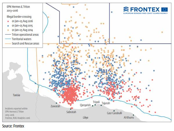 >> Mittelmeer-Schleusungen: NGOs fahren demnächst wohl mit Landungsbooten zu Libyens Küste  Die auf der Basis der Daten von FRONTEX (Europäische Agentur für die Grenz- und Küstenwache) erstellte Grafik zeigt eindeutig, wie sich die Aktivitäten des Mittelmeer/Europa-NGO-Shuttle-Service immer mehr auf die Küste Libyens zu bewegt.  #mittelmeer  #frontex  #schleusungen  #ngo  Quelle: https://frontex.europa.eu/assets/Publications/Risk_Analysis/AFIC/AFIC_2016.pdf #Date:#