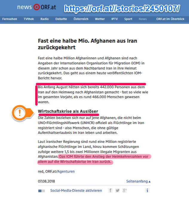 """In den Jahren 2017/2018 sind fast eine Million afghanische """"Flüchtlinge"""" freiwillig aus dem Iran nach Afghanistan zurückgekehrt.  Von Taliban-Angst keine Spur. Selbst das UN-Flüchtlingshilfswerk UNHCR und die Internationale Organisation für Migration (IMO) weisen darauf hin, dass die Wirtschaftskrise im Iran für die """"Flüchtlinge"""" weitaus bedrohlicher zu sein scheint, als die Taliban in Afghanistan.  Interessanter Kontrapunkt zur Hetze der grünlinken Abschiebungsgegner in Deutschland.  #asylposse  #afghanistan  #taliban  #iran  #unhcr  #imo  #abschiebung #Date:#"""