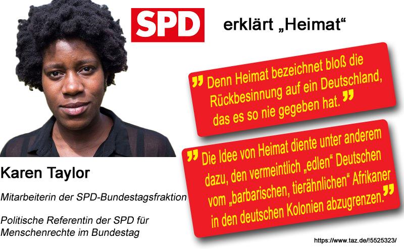 """>> Deutschland > Gesellschaft: SPD-nahes Statement zum Begriff """"Heimat""""  Die Politische Referentin für Menschenrechte der internationalistischen SPD-Bundestagsfraktion hilft uns bei der Deutung des Begriffs """"Heimat"""".  Ganz klar, wie bei so einem """"Unverständnis"""" des Begriffes Heimat die Politik der  deutschlandfernen SPD nur aussehen kann.   Die Sozis sind von ihrem """"Projekt 4,9%"""" so richtig durchdrungen.  #spd  #heimat  #internationalistisch  #deutschlandfern  #VierKommaNeunProzent  #linke  #grünlinke  #DeutschlandZuletzt #MultikultiSozis  #RotSocken  https://www.taz.de/!5525323/ #Date:08.2018#"""