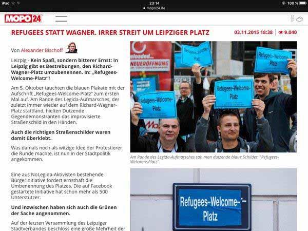 Richard-Wagner-Platz in Leipzig soll in Refugees-Welcome-Platz umbenannt werden #Date:01.2016#