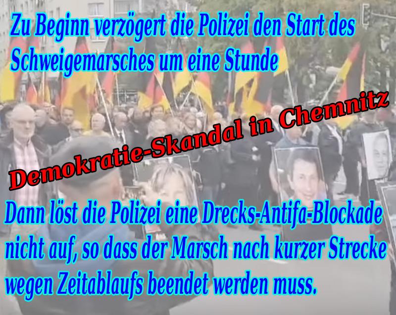 >> Chemnitz > Schweigemarsch für Mordopfer: Demokratie-Skandal durch staatliche Behinderung des Demonstrationsrechts _  Das Demonstrationsrecht ist genauso ausgelutscht wie das Asylrecht.  Völlig entfremdet von den ursprünglichen Ideen des Grundgesetzes.  Wenn eine angemeldete Demonstration läuft, hat das grünlinke ????? Zeckenzeugs nichts auf der Straße verloren.   #chemnitz  #demonstrationsfreiheit  #grundgesetz  #polizei  #skandal #demokratie  #c0109  #schweigemarsch #Date:09.2018#